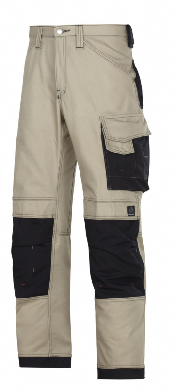 Snickers 3314 Canvas+ Craftsmen Trousers (Khaki/Black)